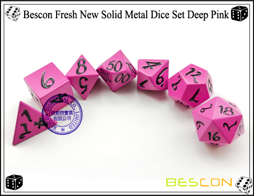 Bescon Fresh New Solid Metal Dice Set Deep Pink-5