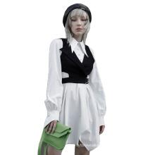 Gothic style women dress asymmetric bottom long sleeve neck swallow tail shirt dress OPQ-934LQF new wholesale clothing PUNK RAVE
