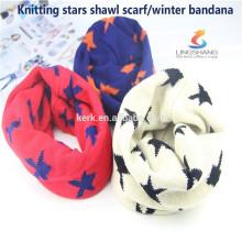 Lingshang bandana de malha de moda do aquecedor de pescoço para as mulheres, lenço de cashmere