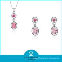 Hotsale Pink Silver Jewelry Set on Discount (J-0174)