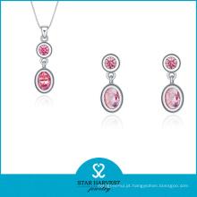 Conjunto de Jóias de Prata Rosa Hotsale em Desconto (J-0174)