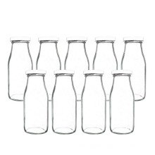 11oz 300ml empty clear sqaure round juice breast airtight glass milk bottle with metal lid