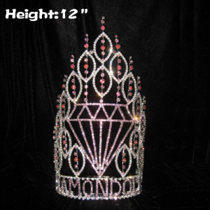 12in Height Wholesale Diamond Shaped Pageant Crowns
