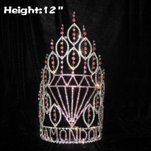Coronas de desfile en forma de diamante al por mayor de 12 pulgadas de altura