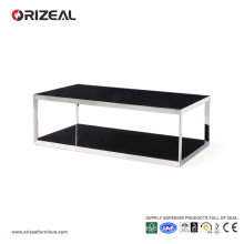 Orizeal Modern Office Glass Metal Coffee Table (OZ-OTB008)