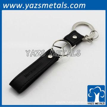 custom logo leather strap keychain