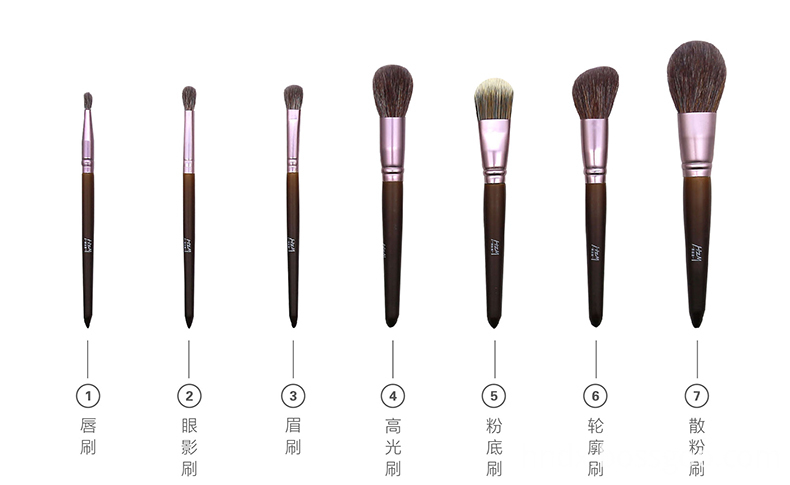 7PCS Goat Hair Wood Handle Makeup Brush 1-3