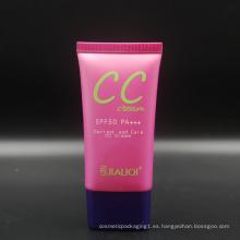 Impresión de pantalla de seda oval cosmético negro vacío del tubo que empaqueta para la crema cc cosmética