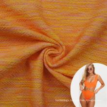 melange orange polyester 87 lycra 13 elastic stretchy jacquard swimsuit fabric