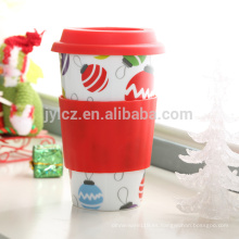 Taza de viaje de cerámica de café de 16 oz con tapa y manga de silicona