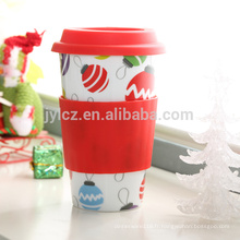 Tasse de voyage en céramique de café de 16oz avec le couvercle et la douille de silicone