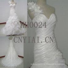 HH0024 ein Schultergurte Korsett Schatz Ausschnitt geraffte Hochzeitskleid