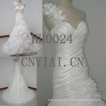 HH0024 un hombro correas corsé escote corazón vestido de novia acanalada