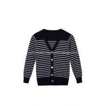 Boy's Knitted Buttoned White Black Stripe School Cardigan