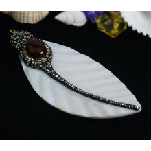 Mother Pearl Pendant Sea Shell Necklace Jewelry with Rinestone