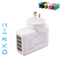 Four Ports Interchangeable Travel Plug Charger 5V=2.1A