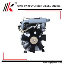 chinesischer Dieselmotor (10kW-14kw) Luftgekühlter kleiner kompakter 2-Zylinder-Dieselmotor für Generator
