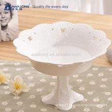 Flower Shape Pure White Atacado Fine Porcelain Placa de fruta profunda, placas de cerâmica personalizado
