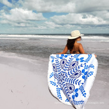 Hot sale white blue pattern Round Beach Towel RBT-180