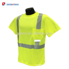 100% poliéster amarillo Safety Hi Vis camiseta de trabajo de manga corta con cinta reflectante rayado 360 grados de visibilidad ANSI clase 2