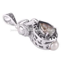 Pendentif en argent sterling 925 en pierres précieuses améthyste et perle