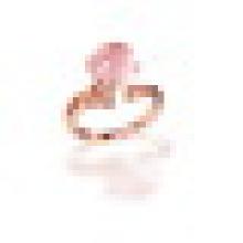 S925 Sterling Argent Rond Cut Naturel Rose Quartz Citrine Pave Anneau pour Femmes Pierre de Naissance Fine Jewelry Taille Réglable