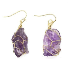 Women Dangle Earrings Natural Stone Gold-Color Wire Wrap Irregular Asymmetric Pendent Crystal Earrings