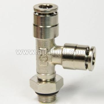 BSPP Thread Swivel Run Tee  Pneumatic Metal Push-in-Fittings