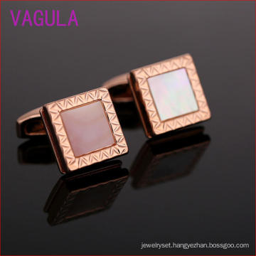 Fashion Rose Gold Plating Square Shell Men′s Cufflink L52303