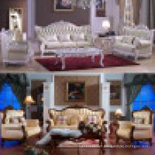 Sofá de couro com moldura de sofá de madeira e mesa (D508)
