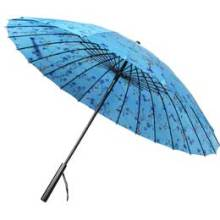 Manueller offener blauer Blumendruck Gerader Regenschirm (BD-65)
