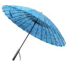 Manual abierto azul flor impresión paraguas recto (BD-65)