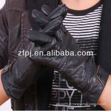 Moda homens cheape Lavagem PU preto luvas produtos de couro