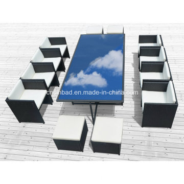 Oito cadeiras Rattan Dining Set para Outdoor com alumínio / SGS