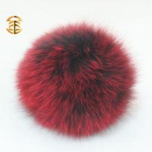 2017 Poms coloridos al por mayor del pom de la piel de la bola del zorro del keychain para el bolso