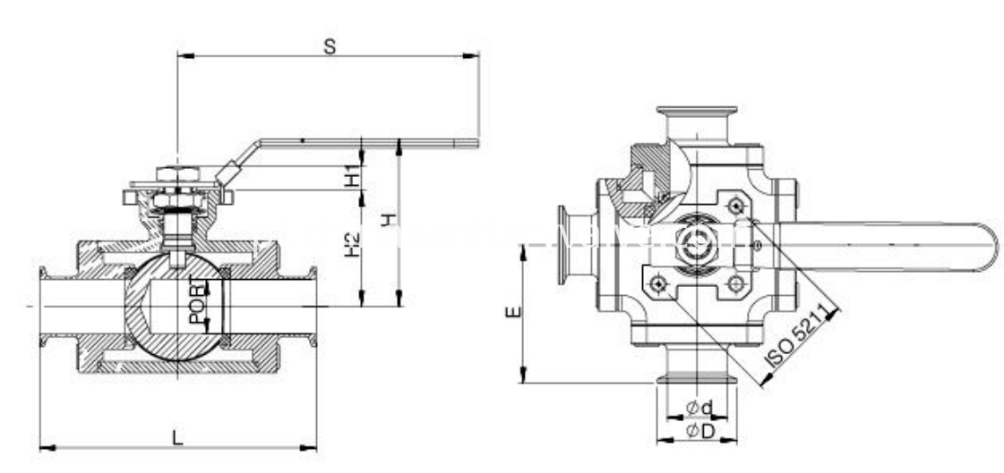 sanitary square three way ball valve3