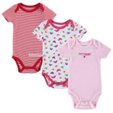 Neugeborene Mädchen Playsuit rosa Farbe und rot weißen Streifen Baby Boutique Kleidung Kleinkinder Strampler