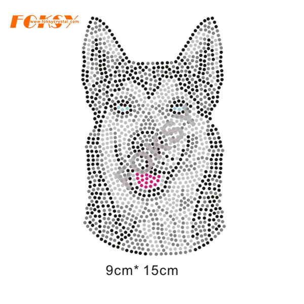 Funny Puppy Dog Animals Hot Fix Rhinestone Motif