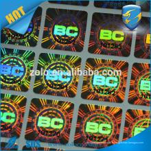 Anti-tamper véritable autocollant adhésif détachable vinyl hologramme effet caisse autocollant