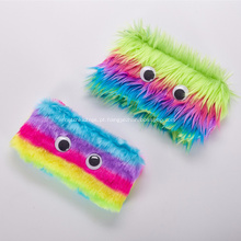 Saco de lápis de pelúcia macio personalizado arco-íris