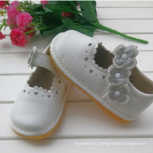 Sliver Flower White Children Girl Shoes Soft Shoes