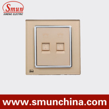 Golden Internet Wall Socket with Telephone Port
