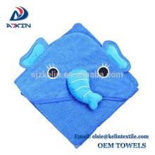 Toalla de baño con capucha de algodón terry cara animal con diseño de bordado