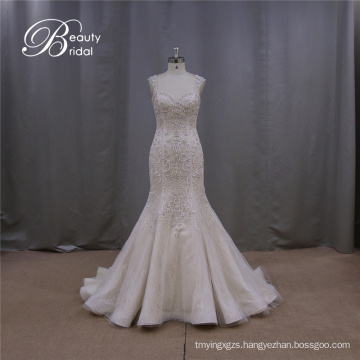Champagne Embroidered Backless Low Back Cap Sleeve Sexy Wedding Dress