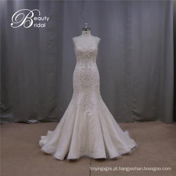 Vestido de noiva Sexy champanhe bordado sem encosto baixo traseira tampa da luva