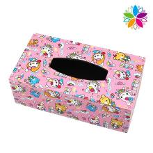 Cute Rectangle Leather Tissue Box (ZJH079)