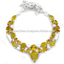 Rutileted Quartz Citrine & Biwa Pearl Gemstone With Sterling Silver Wedding Wear Necklace Jewellery