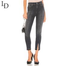 Nueva moda por encargo polainas de mezclilla llanura mujeres pantalones vaqueros de cintura alta