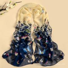 2017 nuevo diseño de alta calidad color mezclado estilo largo mariposa patrón poliéster bufanda al por mayor
