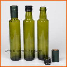 Botellas redondas de vidrio de oliva con color verde ámbar claro
